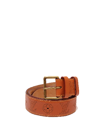 Louis Vuitton Brown Leather Mahina Perforated Belt - SIZE 34