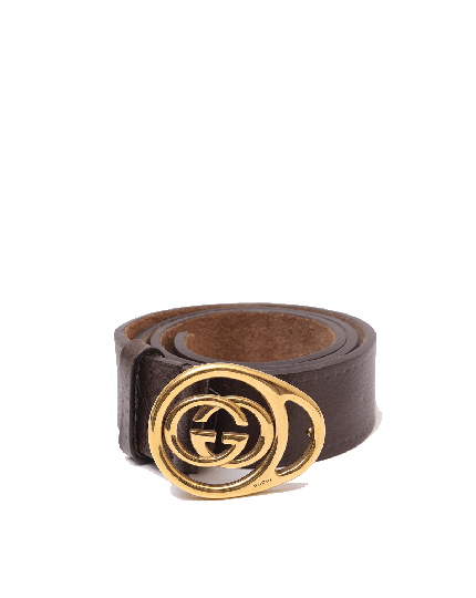 Gucci Brown with Gold interlocking GG Leather Wide Belt- SIZE 34