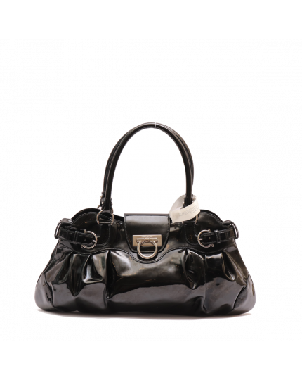 Salvatore Ferragamo Black Patent Leather Miss Vara Bag