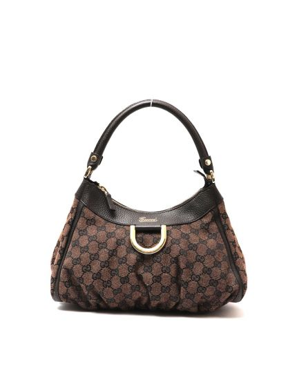 GUCCI MONOGRAM BROWN D RING HOBO BAG