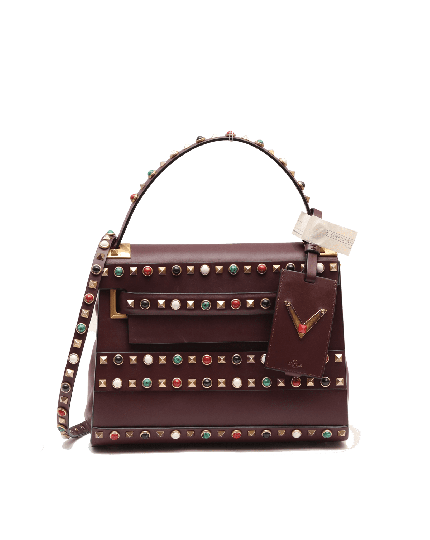 Valentino Burgundy Painted Leather My Rockstud Top Handle Bag