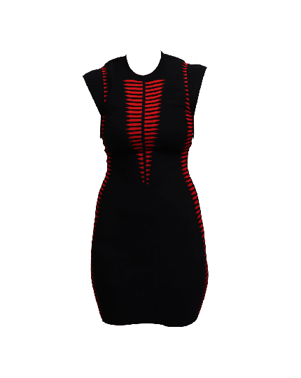 Alexander McQueen Black and Red Bodycon Dress Size XS