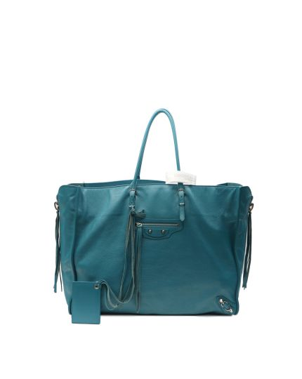 New Papier Zip Around Teal Blue Leather Tote