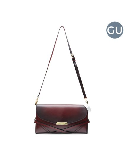 Polished Bridle Leather Large Abbott Maroon Crossbody Bag