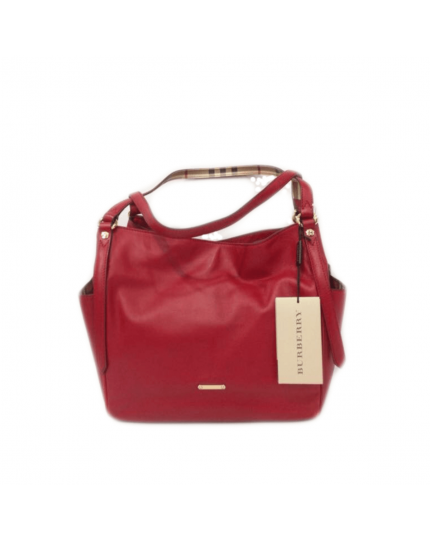Maroon Leather Panels Small Canterbury Tote Bag
