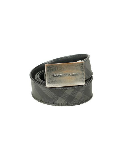 Burberry Black & Grey Lucius Check Belt Size - 95 cm