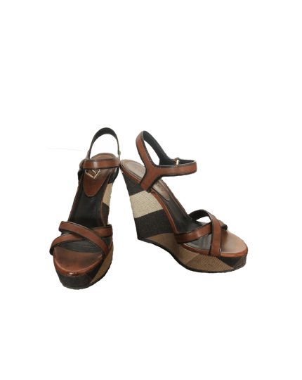 Warlow Brit Check Wedges Sandals Size 38