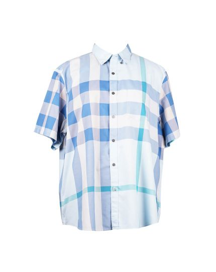 Brit Bi-color Half Sleeve Shirt in Light Blue Size - XXXL