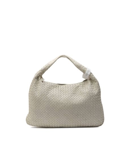 WHITE NAPPA INTRECCIATO MEDIUM HOBO ANTIQUE