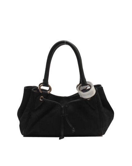 LOGO MANIA Canvas Leather Black Shoulder Bag
