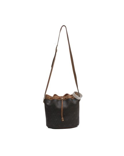 Vintage Brown Honeycomb Canvas Bucket Bag