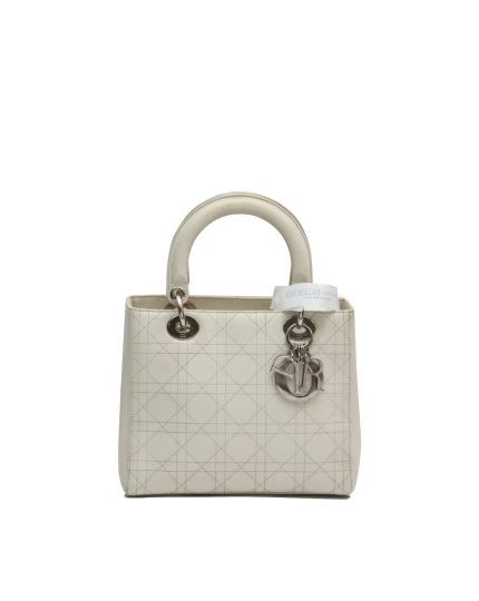 LADY DIOR IVORY GOAT SKIN LEATHER BAG