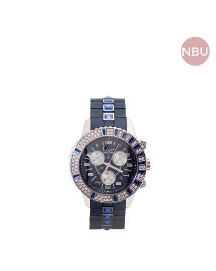 Blue Christale diamond dial blue rubber watch