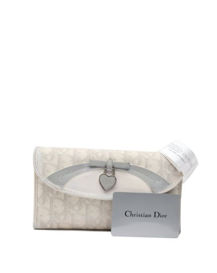 White and Grey Coated Canvas Romantique Trotter Wallet