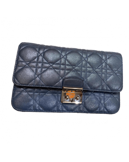 Dior Blue Cannage Quilted Leather Clutch Bag