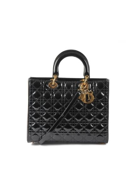 Dior Lady Black Patent Leather Tote Size Large