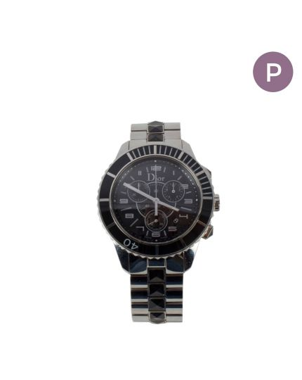 Silver Chronograph Black Saphire Crystals Band Watch