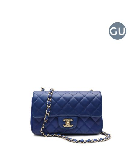 Blue Quilted Lambskin Mini Classic Crossbody Bag