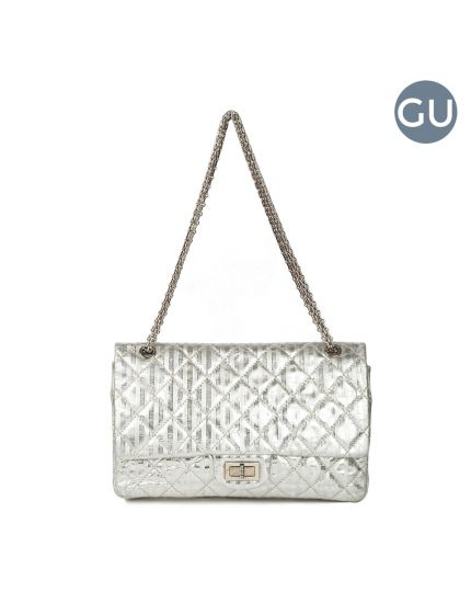 Metallic Silver Quilted calfskin Flap shoulder bag