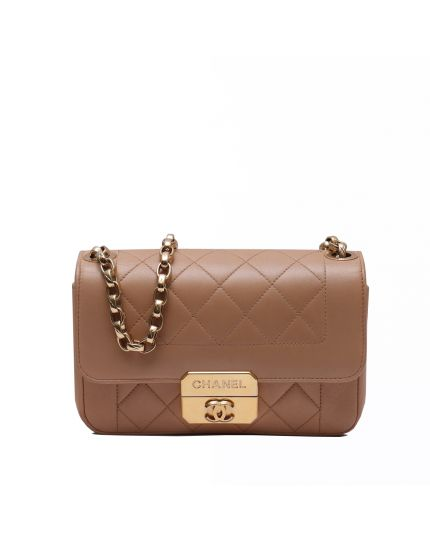Beige Quilted Front Flap Bag