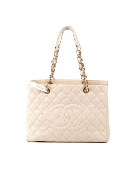 Beige Quilted Caviar Leather Petite Timeless Shopper GST Bag