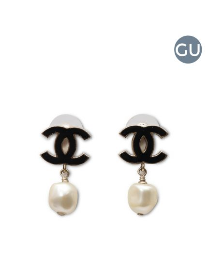 CC black enamel pearl earrings