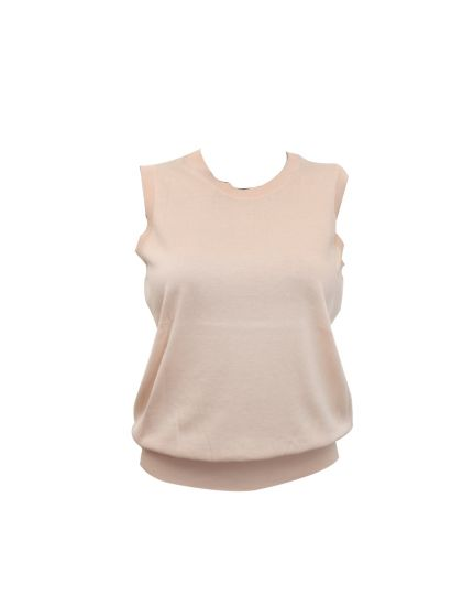 Beige Round Neck Sleeveless Top Size S