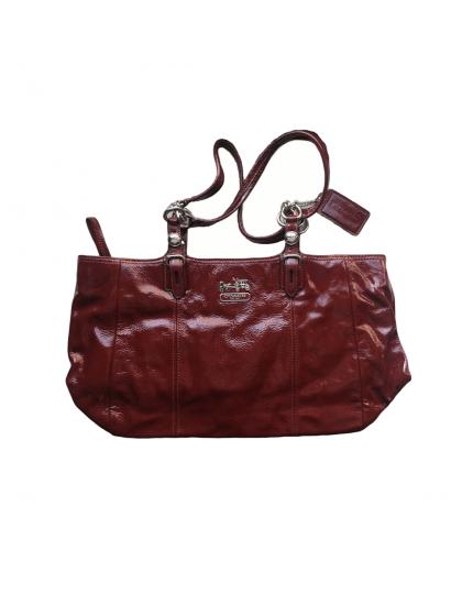 Burgundy Patent Leather Shoulder Bag