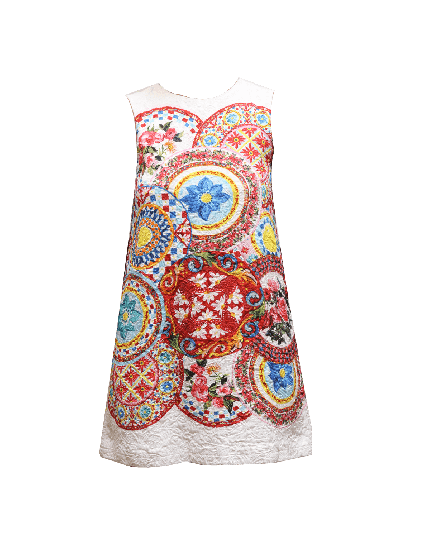 Dolce&Gabbana Printed Multi colored Floral Printed Dress Size UK 12