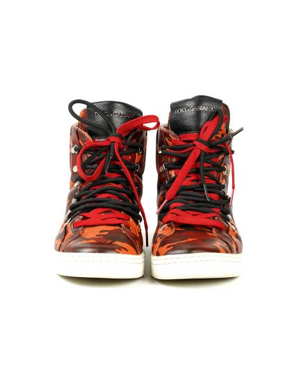 D&G Red Camo Norvegia High-Top Sneakers Size - 8.5