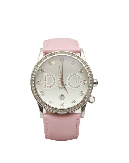 Women's Pink Leather Watch With Crystals