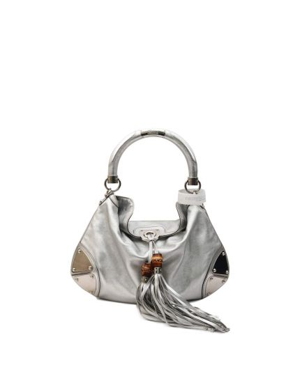 GUCCISSIMA SILVER TOOLED PELHAM HOBO BAG