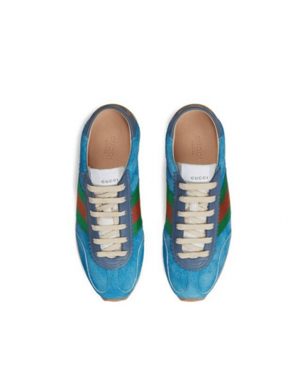 Women's Blue Suede Sneaker With Web Size - 37