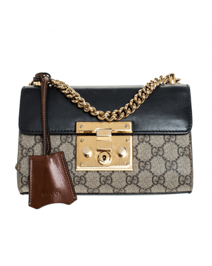 Gucci Beige/Black GG Supreme Canvas and Leather Small Padlock Shoulder Bag