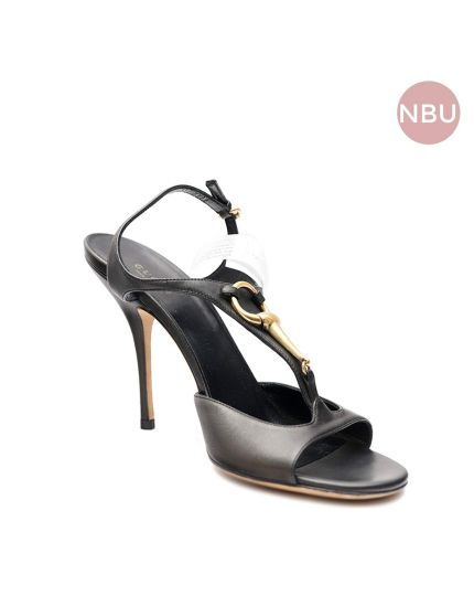 Black Leather Heels with Gold Detailing Size 39