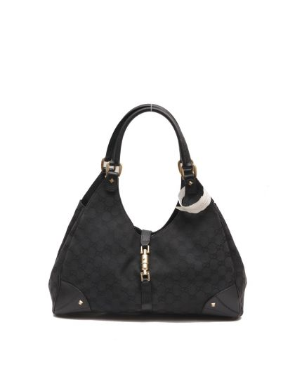BLACK MONOGRAM CANVAS JACKIE SHOULDER BAG