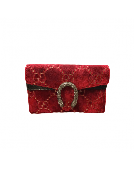 Dionysus Super Mini Red Velvet with Black Shiny Leather Clutch