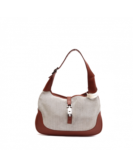 Brown and Perforated Jackie-o Ivory Leather Hobo Bag