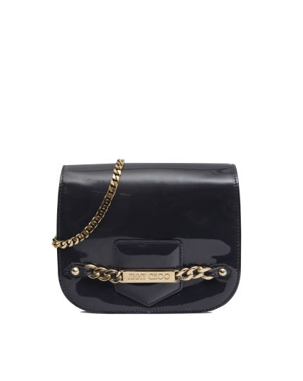 Zadie Patent Leahter Chain-Link Crossbody Bag