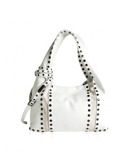 Jimmy Choo White Leather Studded Saba Hobo Bag