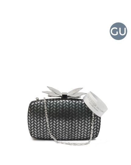 Overture Avery Metallic Bow Black/Silver Evening Clutch