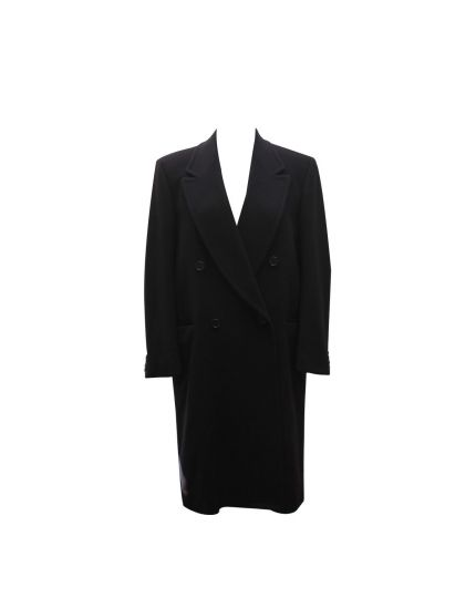 men's black wool long overcoat Size 44
