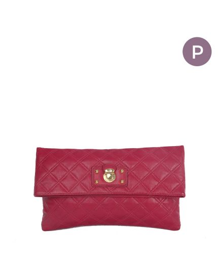 Marc Jacobs Fuschia Quilted Fold over clutch