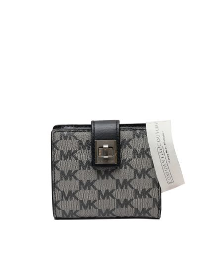 Grey Saffiano Monogram Small Wallet