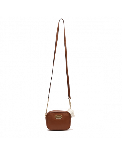 MICHAEL KORS TAN GINNY LEATHER CROSS BODY BAG