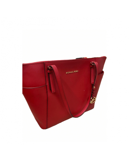 Michael Kors Jet Set Top Zip Saffiano Leather Red Tote