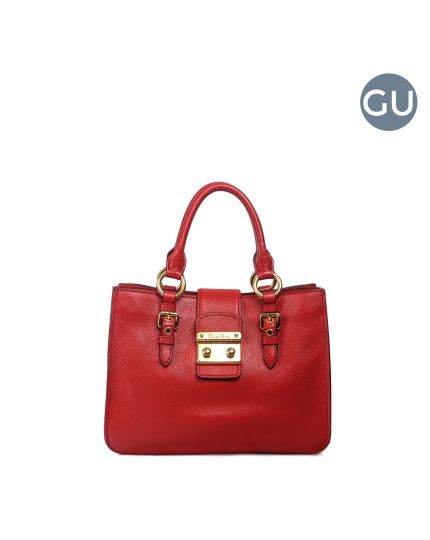 Miu Miu red Textured leather small Madras Tote Bag