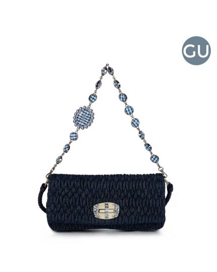 MIU MIU NAPPA DENIM WITH PLEXIGLAS AND SWAROVSKI BAG