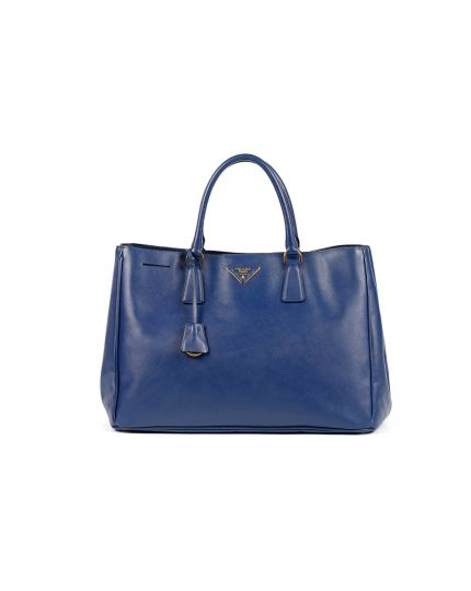 Blue Saffiano Cuir Leather Double Handle Tote