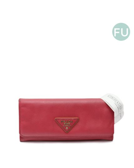 Pink Saffiano Leather Wallet